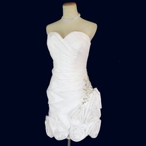 NWT JORDAN White Ruched Bodice Beaded Floral Dress